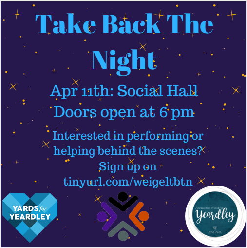 Save The Date: Take Back the Night 2018, Wed. April 11th in Social Hall, Doors Open at 6pm